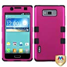 MyBat LGUS730HPCTUFFSO004NP Titanium Rugged Hybrid TUFF Case for LG Splendor/Venice S730 - Retail Packaging - Hot Pink/Black