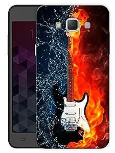 "Humor Gang Burning Guitar Printed Designer Mobile Back Cover For ""Samsung Galaxy E7"" (3D, Matte, Premium Quality Snap On Case)"