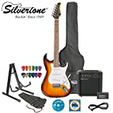 Silvertone Revolver SS11 Tobacco Sunburst Electric Guitar w/ Stand, Strap, Tuner, Strings, 20W Amp, 10 Cable, Picks & Guitar Bag