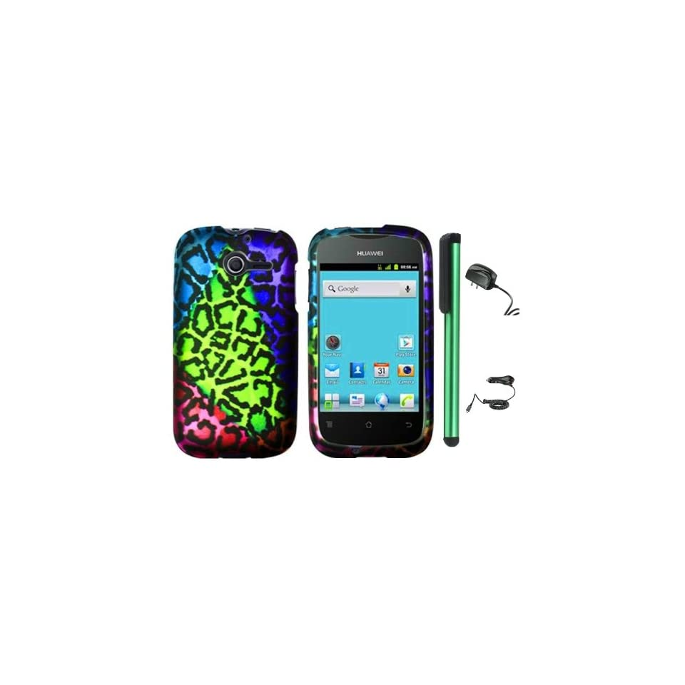 """Huawei Ascend Y M866   Irregular Shape Colorful Leopard Premium Design Protector Hard Cover Case (U.S. Cellular) + Luxmo Brand Travel (Wall) Charger & Car Charger + Combination 1 of New Metal Stylus Touch Screen Pen (4"""" Height, Random Color  Black"""