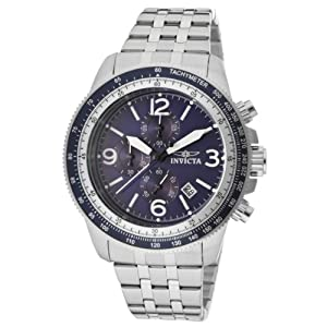 Invicta Men's Quartz Watch with Blue Dial Chronograph Display and Silver Stainless Steel Bracelet 13961