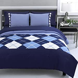 Beverly Hills Polo Club Argyle 3-Piece Full/Queen Comforter Set, Navy