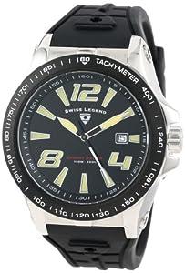 Swiss Legend Men's 10043-01-BB Sprint Racer Black Dial Black Silicone Watch