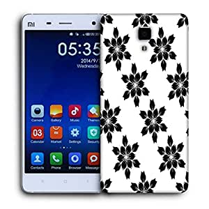 Snoogg Black Flower Printed Protective Phone Back Case Cover For Xiaomi Mi 4