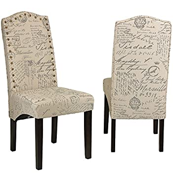 Cortesi Home Miller Dining Chair in Beige Script Fabric (Set of 2), Beige