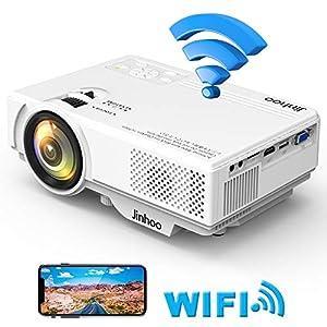 Jinhoo データプロジェクター 2400LM【WiFi接続可】スマホと直接に繋がる HDMI交換アダプターが不要