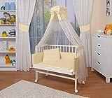 WALDIN Cuna colecho para bebé con equipamiento completo, lacado en blanco, 6 colores a elegir,amarillo/beige