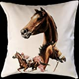 Horse Equestrian Jumper Story Themed Cotton Cushion Cover - Perfect Gift