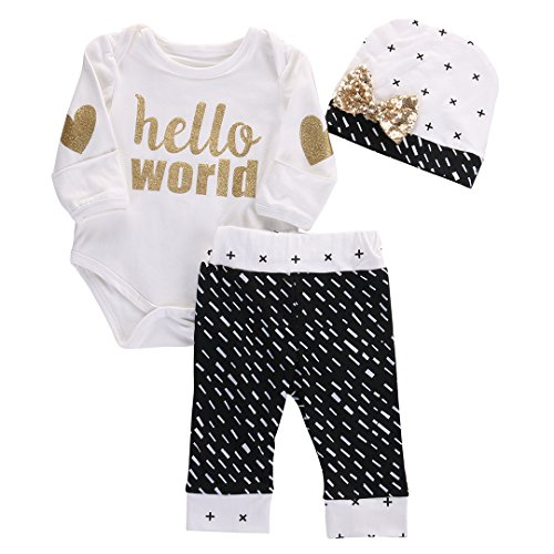 Newborn Baby Girl Boy Gold Hello World Top Romper+Pants Leggings Hat Outfits Set (3-6 Months, White&Black)