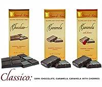 CLASSICO - Case of 15 Luxury Dark Chocolate & Caramela bars: Vegan, Free of Gluten, Peanuts, Tree Nuts, Milk & Soy, All Natural, Allergen & Diabetic Friendly.