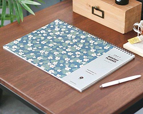 Flower Design 2017 Desk Planner Pad Wire Bound Monthly Planner Desk Mat Blotter Organizer Desk Calendar Scheduler Agenda, 14 Months, 13.8