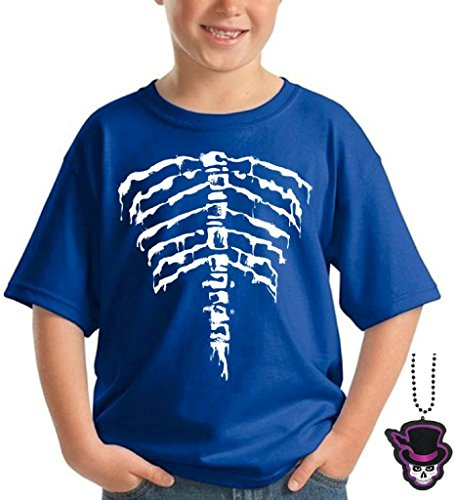 [Youth Back Ribcage T-shirt Day Of Dead Halloween Kids Shirt + Skull Necklace XL Blue] (Zombie Ribs Costume)