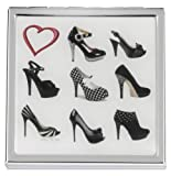 'A Girl Can Never Have Too Many Shoes' Black 2x Magnification Square Compact Mirror