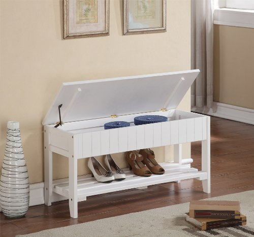 Legacy Decor Solid Wood Shoe Bench Rack with Storage White Color