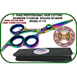 "5.5"" ZENIA MODEL # 1T3 Profesional 3 Ring Rainbow Titanium Hair Cutting Shears Scissor + Free Case"