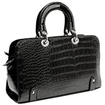 Hot Sale MG Collection MAHDIS Black Vintage Style Faux Crocodile Office Tote Handbag