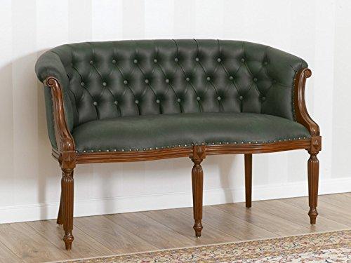 Divano Isabelle stile Vittoriano 2 posti noce ecopelle verde Vintage