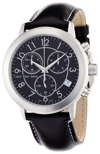 Calvin Klein K8717113 Men's Jeans Continual Black Dial Leather Strap Chronograph Watch