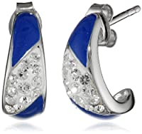 Sterling Silver Enamel Clear Crystal J-Hoop Earrings from Sunstone