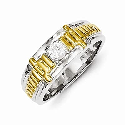 Solid 14k Two tone Diamond Men's Wedding Ring Band (1/4 cttw) (9mm)
