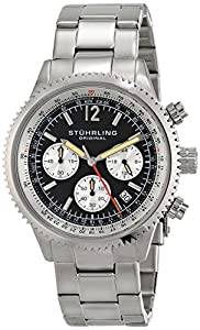 Stuhrling Original Monaco Men's Quartz Watch with Black Dial Analogue Display and Silver Stainless Steel Bracelet 669B.01