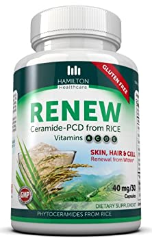 buy Hamilton Healthcare Plant Derived Gluten Free Vegan Rice Phytoceramides For Skin, Hair & Cell Renewal With Vitamins A, C, D, E (30 Capsules)