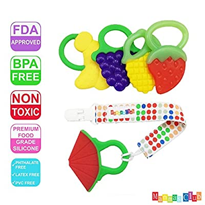 Mammas Club 5 Fruit Baby Teething Toys with Pacifier Clip/ Holder - Non-Toxic, BPA, Latex and Phthalate Free Silicone Teethers- Soothing, Soft, Durable and Freezer Safe by Mammas Club that we recomend individually.