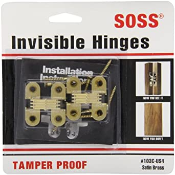 "SOSS Mortise Mount Invisible Hinges with 4 Holes, Zinc, Satin Brass Finish, 1-1/2"" Leaf Height, 1/2"" Leaf Width, 19/32"" Leaf Thickness, #6 x 1"" Screw Size (1 Pair)"