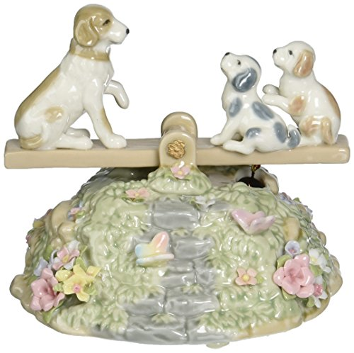 Cosmos SA49112 Fine Porcelain Puppies on Seesaw Musical Figurine, 4-1/4-Inch