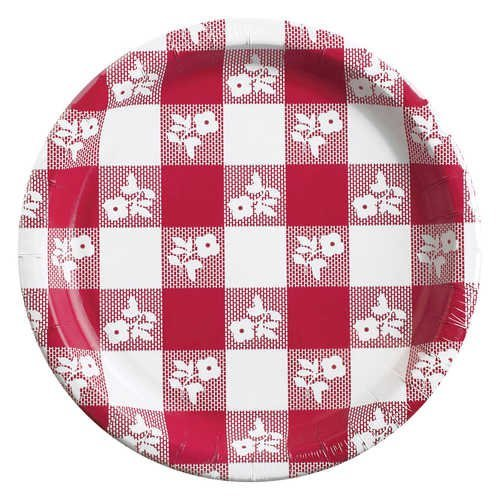 Checker Plate Paper Red Gingham Paper Plates