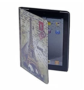 Euroge Tech Fashion Paris Eiffel Tower PU Leather Case Cover Stand For ipad 2 / ipad 3