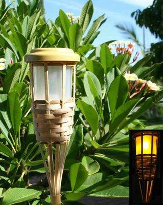 2-Pk Outdoor Garden Bamboo Tiki Torch Solar Landscape Light 5 Amber Leds