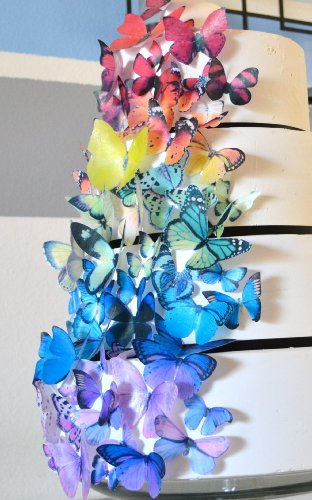 Edible Butterflies © - Set Of 75 Rainbow Variety - Cake Topper, Cupcake Decorations front-571732