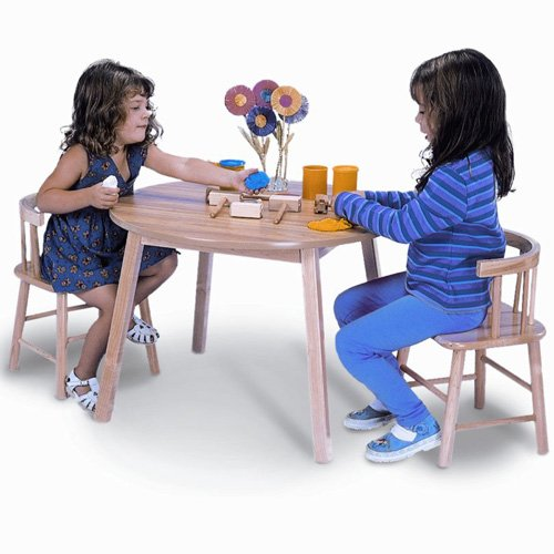 Whitney Brothers Kids In And Outdoor Round Children's Table and Two Chair Set With Sturdy Birch Laminate Top