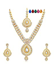 Sukkhi Sleek Gold Plated AD Necklace Set With Set Of 5 Changeable Stone