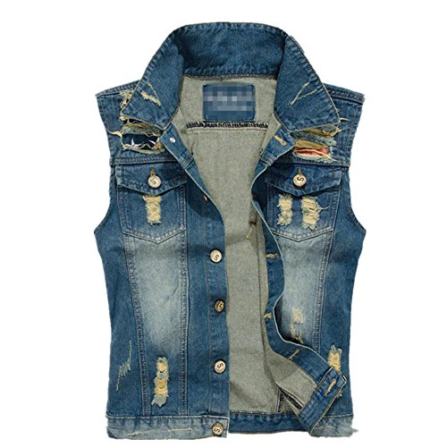 Krralinlin Mens Slim Casual Vintage Sleeveless Denim Jean Jacket Vest(M-XXXXL)