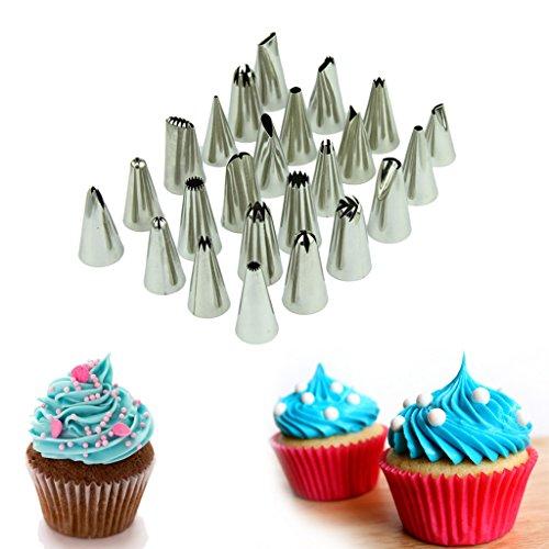 Hotkey professional 24 piece cake decorating tip set kit includes 24