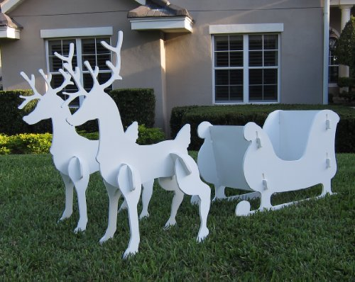 Christmas-Outdoor-Santa-Sleigh-and-2-Reindeer-Set