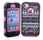 ETOU Tribal Design Plastic Silicone Hybrid Colorful High Impact Gel Case for Apple iPhone 4 4S 4G (Hot Pink)