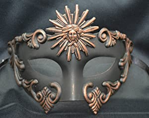 Mens Mythological Bronze/black Sun God Greek Style Party Mask Mens Mythological Greek Style Party Mask Mardi Gras Party Halloween Ball Prom