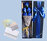【ELEEJE】 母の日 の プレゼント に 最適 大切な人 へ 感謝 の 気持ち を 伝える 花束 ( ソープフラワー ) と メッセージカード の セット ( バレンタイン ・ ホワイトデー ・ 入学 ・ 卒業 ・ 誕生日 ・ クリスマス など 様々な お祝い の シーン に 最適 ) 青5本
