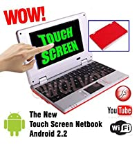 "WolVol TOUCH SCREEN Dark Red 7"" Mini NETBOOK NOTEBOOK LAPTOP COMPUTER w/ WiFi 256mb Ram 4gb HD (INCLUDES: Velvet Pouch Case, Charger, Mini Optical Mouse, Touch-Pen)"