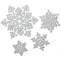Whitelotous Cutting Dies Stencil Metal Mould for DIY Scrapbook Album Paper Card (4pcs Snowflake)