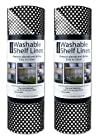 DII Kitchen Millennium Non Adhesive, Smooth Top, Cut to Fit and Washable Shelf or Refrigerator Liner Rolls-12-Inch by 10-Feet, Black, Set of 2