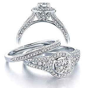 Gleaming Inexpensive Diamond Wedding Ring Set 2 Carat Round Cut Diamond on 10k Gold