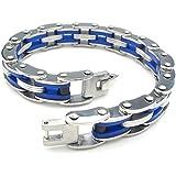 KONOV Bijoux Bracelet Homme - Lien Manchette - Caoutchouc - Acier Inoxydable - Fantaisie - Chaîne de Main - Couleur Bleu Argent - Avec Sac Cadeau