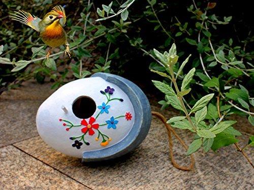 wildbird-care-pet-supplies-resin-hanging-bird-house-with-flower-brh01-white