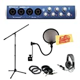 Presonus AudioBox 44VSL 4x4 USB 2.0 Audio Interface Pack with Mic Stand Pop Filter 2 XLR Cables 2 Instrument Cables Headphones and Polishing Cloth