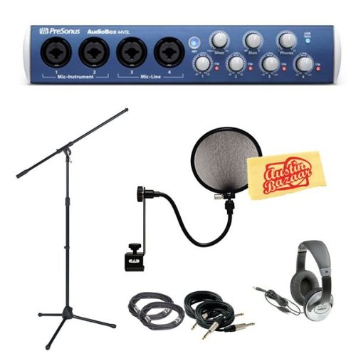 Presonus Audiobox 44Vsl 4X4 Usb 2.0 Audio Interface Pack With Mic Stand, Pop Filter, 2 Xlr Cables, 2 Instrument Cables, Headphones, And Polishing Cloth