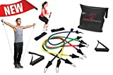 Free Exercise Guide - Resistance Bands Set - Best Band Power Systems - 100% Money Back Guarantee, Lifetime Warranty - for Extreme Crossfit, P90x®, Pilates, Boxing, & MMA - Endurance & Speed Conditioning - Perfect for All Types of Strength Training & Fitness Exercise Workouts - Perform Better Vertical Jumping - Includes Elastics, Handles, Ankle Straps, Door Anchor Attachment & Black Travel Carrying Case - For Men & Women - Knee, Legs, Arms, Chest, Back & Shoulder Workout Exercises